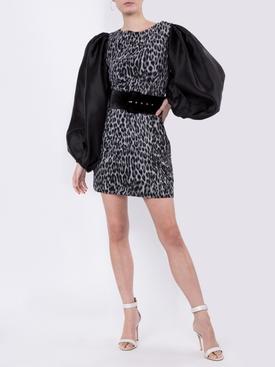 Puff Sleeve Organza and Leopard Print Chiffon Mini Dress