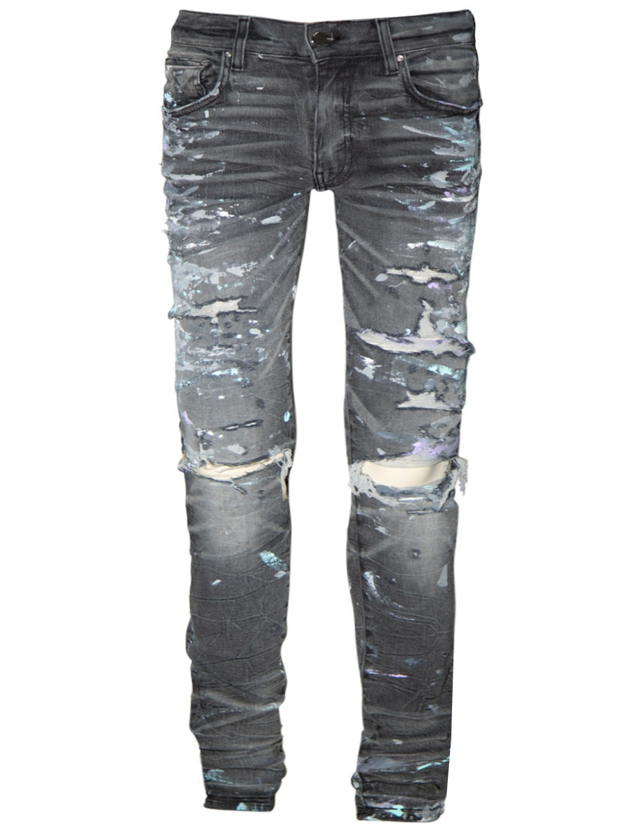 Amiri Paint splatter Skinny Jeans Grey   ModeSens