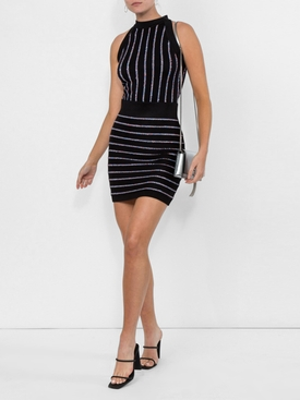 contrasting embroidered stripes dress