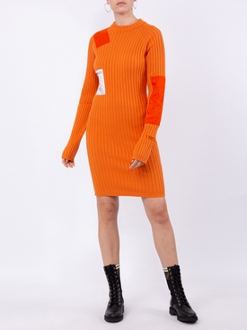 orange patch ribbed dress