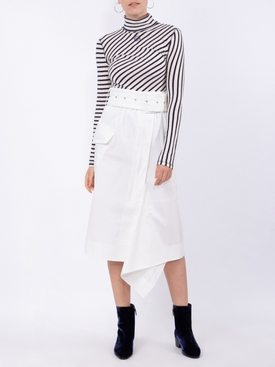 White asymmetric midi skirt