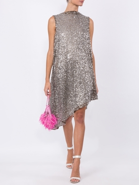 sequinned asymmetric sleeveless dress