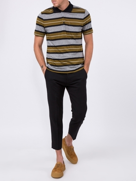 Short Sleeve Striped Polo Shirt With Ami Label