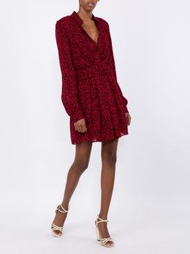 red leopard draped short dress