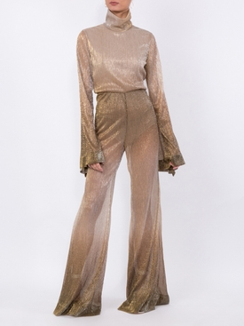 wide leg lamé jumpsuit