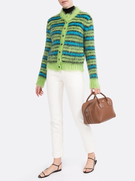 green and blue fuzzy striped cardigan