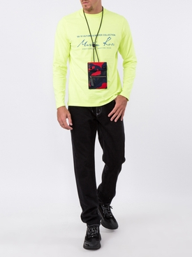 Florescent yellow long sleeve logo t-shirt