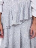 Alexachung - Ivory And Blue Tiered Ruffle Skirt - Women