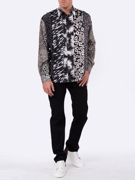 silk print panel shirt