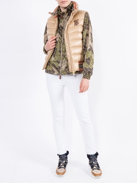 Monogram Print Nylon Funnel Neck Jacket