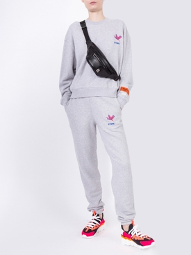 logo embroidered track pants grey