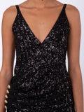 Balmain - Sequined Side Slit Gown Black - Women