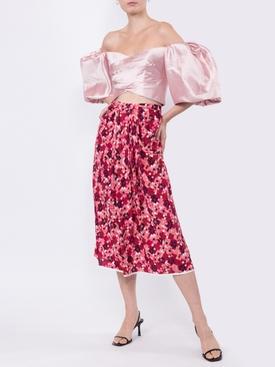 pixel print pleated skirt