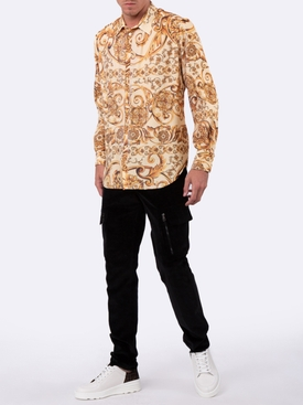 pleated baroque print shirt YELLOW