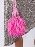 Attico - Feather-trim Tote Bag Pink - Women