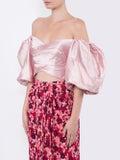 Rasario - Puff Sleeve Wrap Effect Top Blush - Women