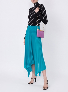 asymmetric pleated skirt BLUE