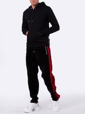 Velvet and red side panel track pants