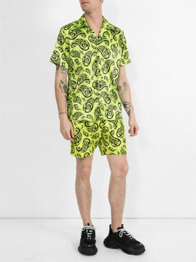 Sss World Corp - Lime Tribal Print Short Sleeve Shirt - Men