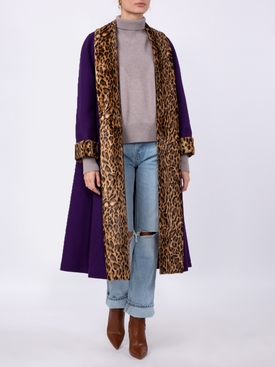 leopard trim purple coat