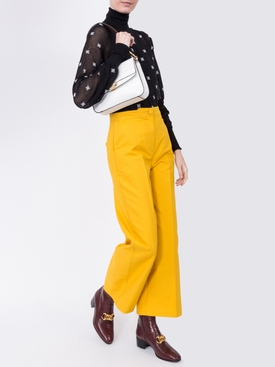 yellow wide-leg trousers