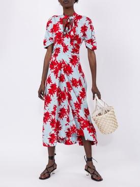 Splatter Floral Short Sleeve Tie Dress MULTICOLOR