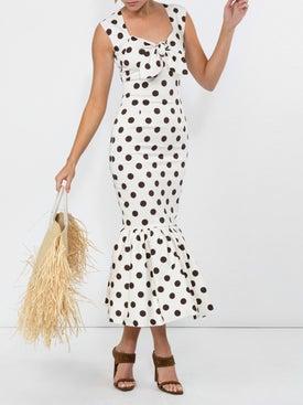 Rebecca De Ravenel - Tie Front Tulip Dress - Mid-length