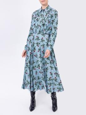Floral print mid-length skirt BLUE
