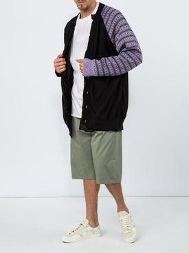 Raf Simons - Cotton Cardigan With Contrast Sleeve Purple - Men