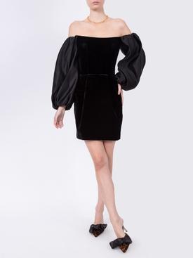 Puff Sleeve Satin and Silk Velvet Corset Mini Dress Black