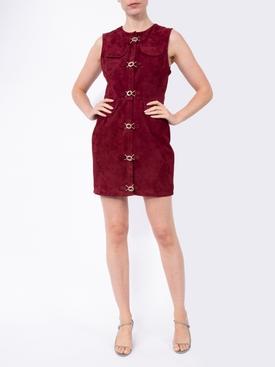 Burgundy suede mini dress