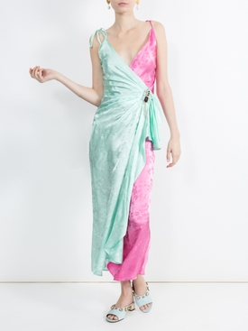 two-tone jacquard wrap-around slip dress