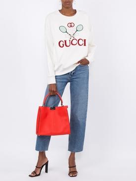Gucci Tennis embroidered cotton sweatshirt WHITE