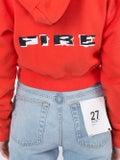 Heron Preston - Coral Red Fire Crop Hoodie - Women