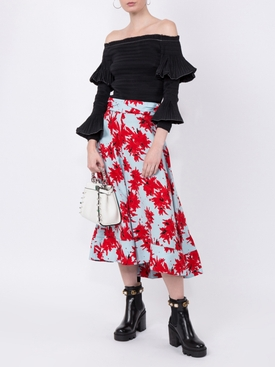 Splatter Floral Seamed Skirt MULTICOLOR