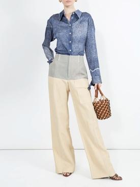Denim print Silk blouse