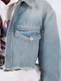 Givenchy - Cropped Denim Jacket Blue - Women