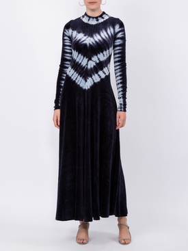 Tie Dye Velvet Long Sleeve Dress