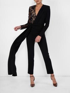 lace draped detailed jumpsuit BLACK
