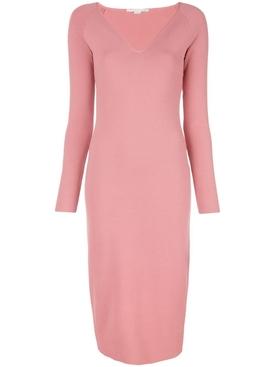 V-neck midi dress PINK