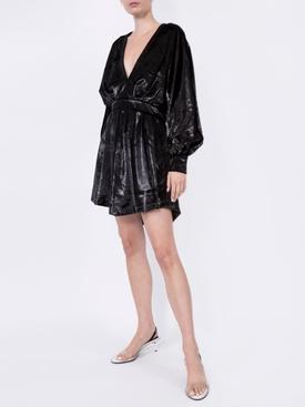 velvety metallic dress BLACK
