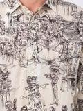 Saint Laurent - Skeleton Party Print Shirt Beige - Men
