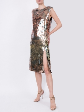 sequin embroidered shift dress