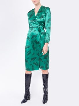 green leopard silk wrap dress
