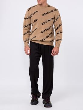 jacquard logo crewneck sweater