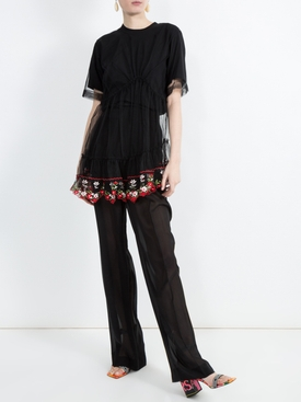 floral embroidered lace peplum T-shirt