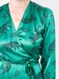Hvn - Green Leopard Silk Wrap Dress - Women