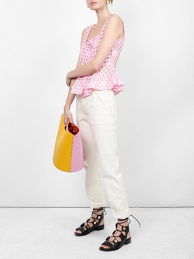sleeveless checked blouse PINK