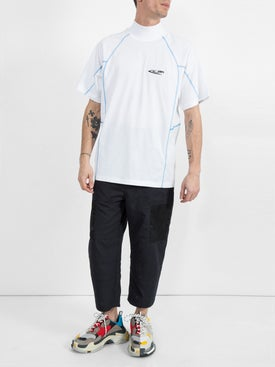 - Jaws Contrast Stitching T-shirt Off-white - Men