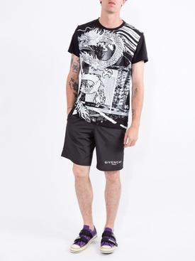 black and white dragon print T-shirt